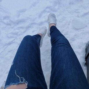 """Snygga jeans med hål från hollister. De är väldigt lågmidjade och jag har klippt dem kortare så """"L29"""" stämmer inte. Passar folk under 160cm skulle jag säga. Fri frakt!"""