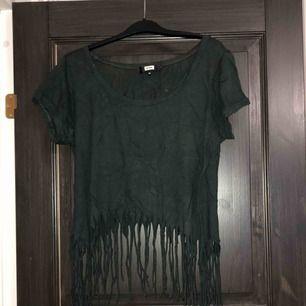 Khakigrön/mörkgrön magtröja med fransar i fint men använt skick. Köparen betalar frakten (ca 45kr) eller hämtar upp kläderna i Skärholmen (Bredäng). Kan även mötas upp i Skärholmen.