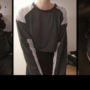 Crooped tröja i svart och lila från Weekday. 87% polyester 13% elastan. Felfritt skick!