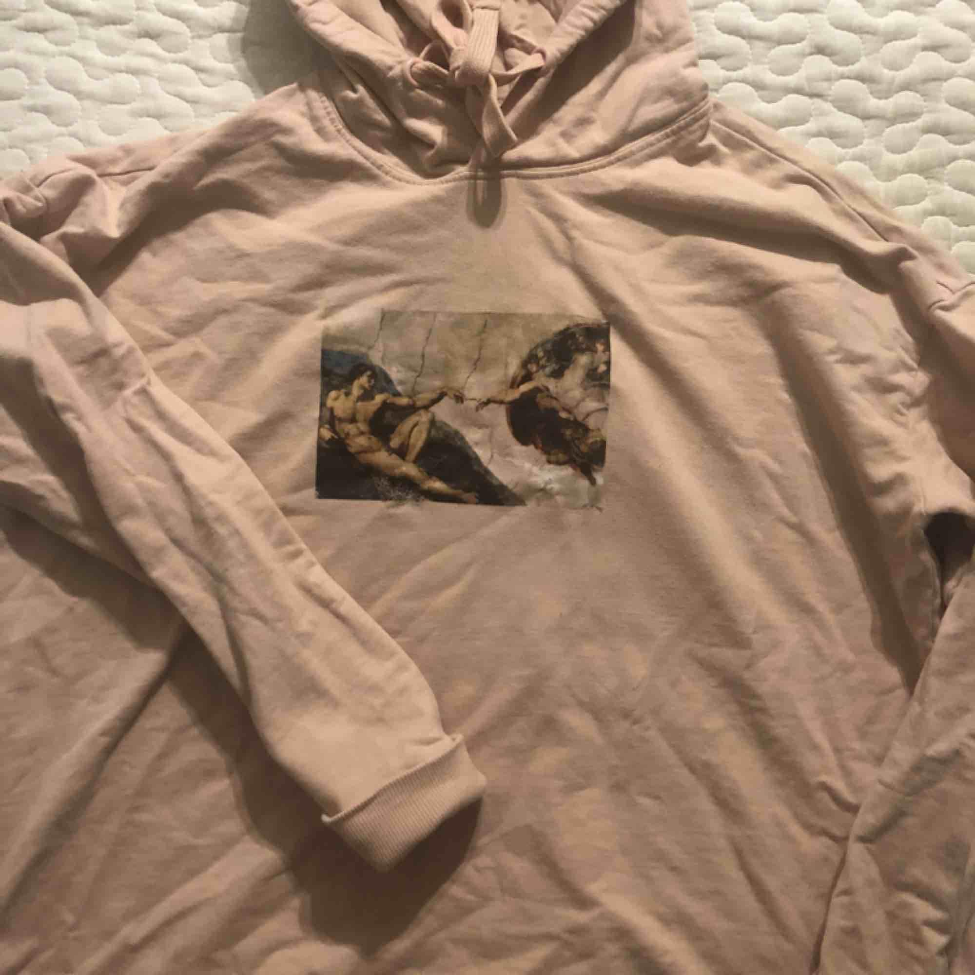 """Skitsnygg ljusrosa hoodie med """"Adams skapelse"""" som tryck💕 Köpt begagnad här på Plick, aldrig använd av mig.  Säljes pga att den ej passade mig.  . Huvtröjor & Träningströjor."""