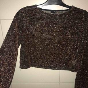 Superfin lite genomskinlig tröja. vid i ärmarna. Kopparfärgad med glitter. Superfin att ha under en t-shirt. DM för info. Säljer pga kommer aldrig till användning. Köpare står för frakt.