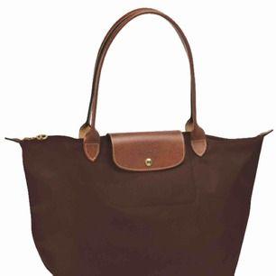 Äkta longchamp väska, brun