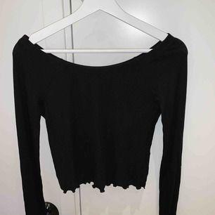 Svart Långärmad tröja ifrån bikbok, men fina detaljer i slutet av ärmarna.  Storlek m, men tajt så passar även bra till S. Aldrig använd, bra skick! Köparen står för frakten☺️📦