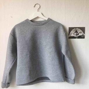 Fresh grå sweatshirt i scuba-material. I princip oanvänd och i nyskick. Passar XS-M. Kan mötas upp i Gbg. Annars tillkommer frakt, och den betalar du! 🌞