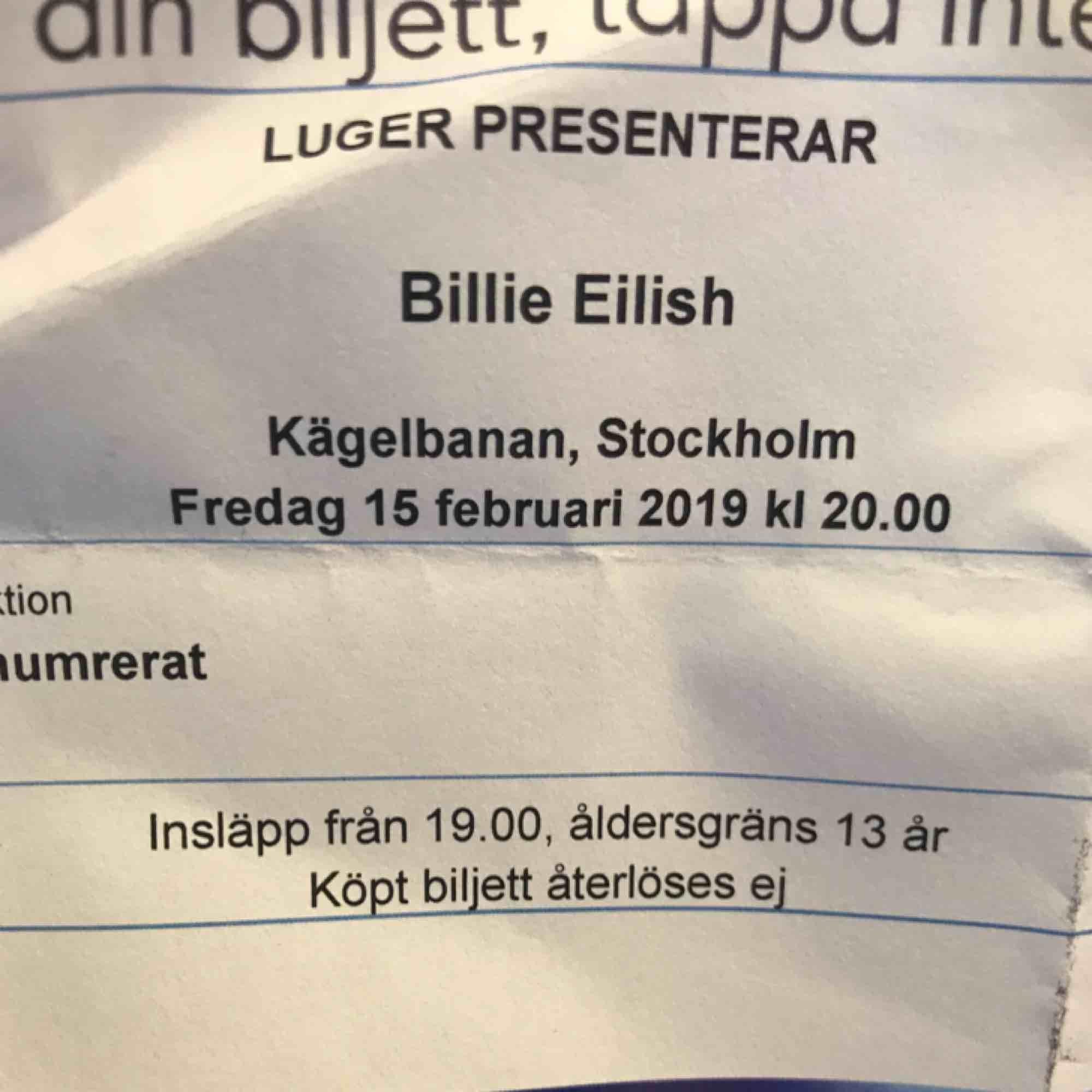 Säljer en Billie Eilish biljett till hennes konsert på fryshuset på fredag (15/2). Säljer då det visade sig att jag inte kan gå :/// pris kan diskuteras 💗. Övrigt.