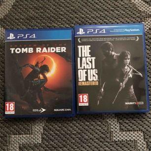Några spel som tillhör ps4 Shadow of the romb raider:450 The last of us: 150