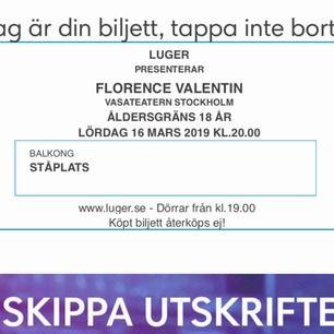 Säljer två biljetter till Florence Valentin den 16e mars i Stockholm! Balkongplats :) kostade 295kr/biljett från början