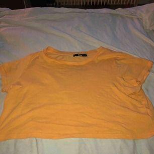 En Orange T shirt i storleken M , den är mer som en S och väldigt skön!