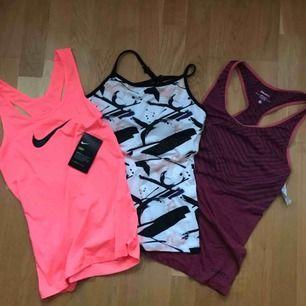 50kr st. Neon rosa/korall från Nike aldrig använt, snyggt linne från drop of mindfullness med inbyggd sport-bh aldrig använd, linne från craft aldrig använd