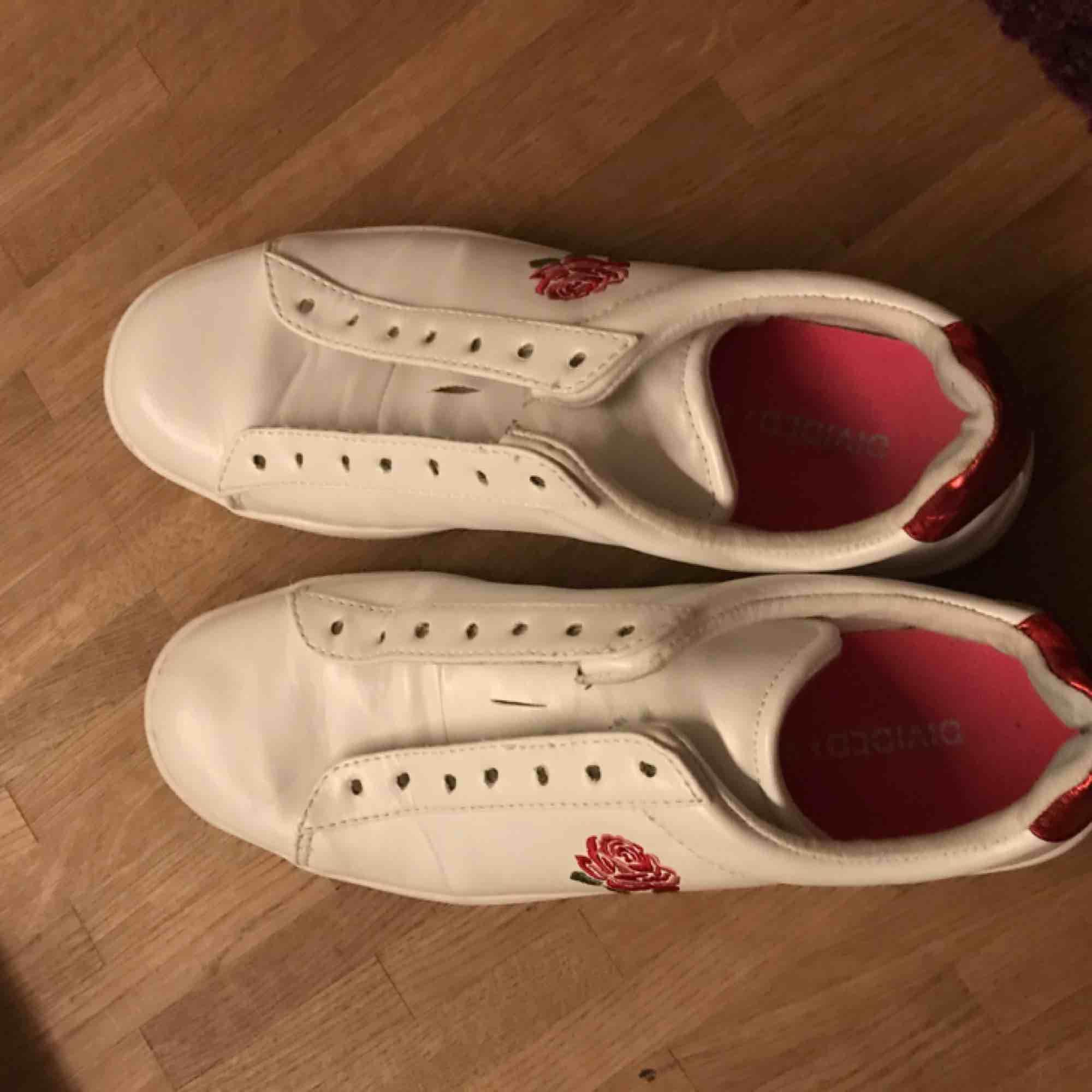 ett par knappt använda gucci inspirerade sneakers från hm. perfekta nu till våren, saknar dock tyvärr skosnören!  strl 40 men små i storleken så passar 38-40. Skor.