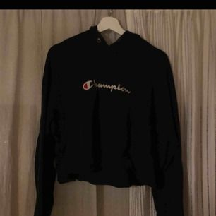 Väldigt snygg svart champion hoodie, passar en XS-M om man vill ha den oversized. Passar sjukt bra till allt, antingen ett par jeans eller varför inte matcha med en snygg kjol?!