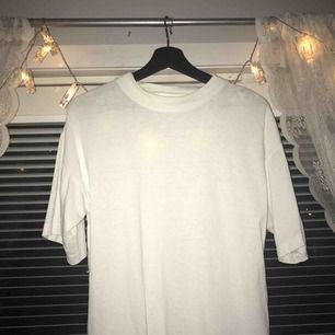 vit t-shirt, vet inte vilket märke då lappen är avklippt och jag köpt den på second hand, men i väldigt gott skick! Priset är inkl. frakt, Skulle säga att det är M-L, jag har använt den som lite oversized och har vanligtvis S, sitter snyggt då också!
