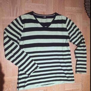Trendig mintgrön-svartrandig tröja från JC i storlek Large 🖤