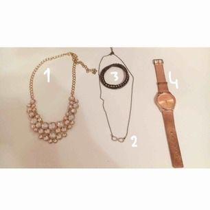 Snygga och sparsamt använda smycken (alla är i gott skick). Säljs pga att de inte har kommit till mycket användning. 70kr inkl frakt för nr 1, resten varierar mellan 20-40kr beroende på smycke (kontakta mig privat vid frågor) ❤️❤️