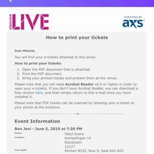 Säljer 2 biljetter till Bon Jovi's konsert den 5 juni i Stockholm. Kan själv tyvärr inte gå men hoppas någon annan kan njuta. Pris kan diskuteras. 💘
