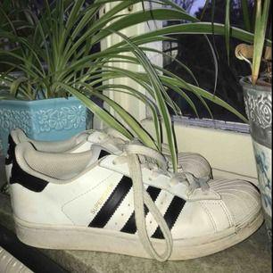 Säljer mina adidas superstars. De är i bra hyfsat skick, hål i hälarna som sker på dom flesta skor (se sista bilden) Storlek 37 1/3. Frakt 105kr