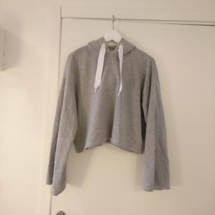 Grå hoodie med luva och stora snören, Bild med plagg på kropp vid intresse, Pris inkl frakt