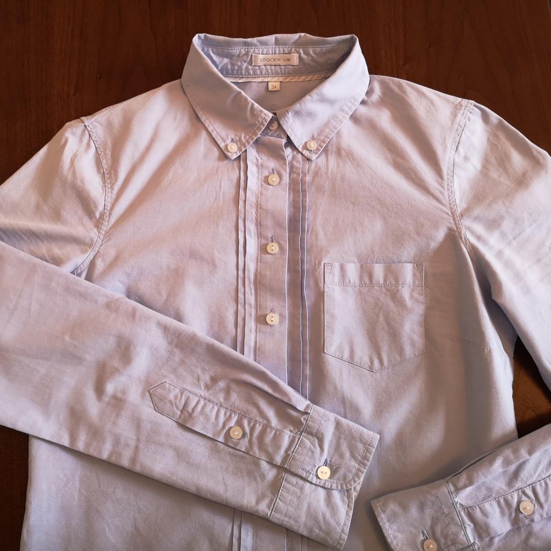 Ljusblå skjorta i fint skick! Från MQ i märket Stockh lm och storlek 34. Fin figursydd passform! . Skjortor.