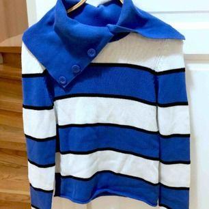 stickad, randig tröja i bomull, köpt på MQ märke zoul strl M
