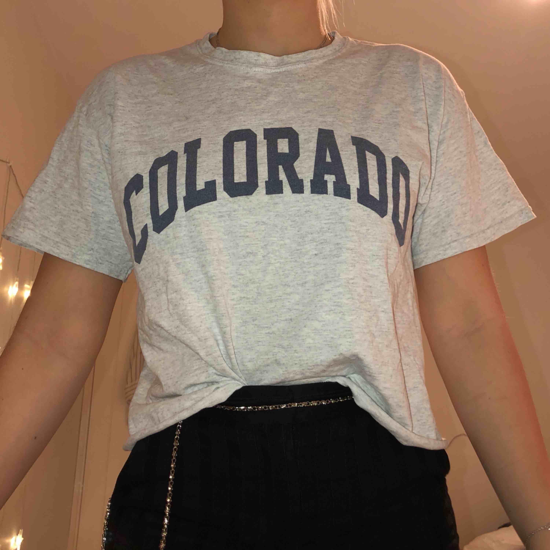 Grå croppad t-shirt från brandy Melville helt oanvänd.  Köparen står för frakten. Kan också mötas upp i malmö :). T-shirts.