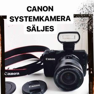 Kompakt systemkamera Canon Eos M 1.6 x brännvidd Cirka 24.2 effektiva megapixlar Cirka 25.8 megapixlar Video 1080/60p WiFi och Bluetooth med NFC-parning Micro USB och Micro HDMI-anslutning  Skriv om du vill ha fler bilder eller vill veta mer!