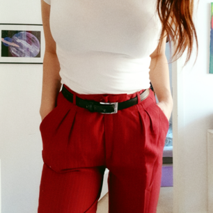 A pair of second hand red pants I got tired of last summer. tight waits super comfy ✌🏼