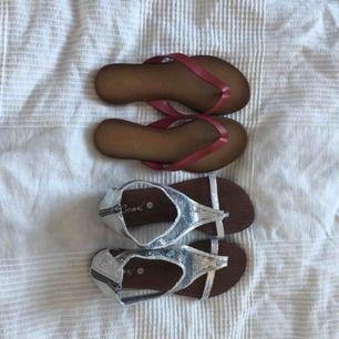 Sandaletter i olika färger! Silvriga (80kr) är från märket   Catonel & de röda (80kr) är från Pier One.   Oanvända och säljer eftersom de inte är min stil.   Kan mötas i Bålsta eller frakta. Tar endast emot Swish.  Kunden står för den eventuella frakten.
