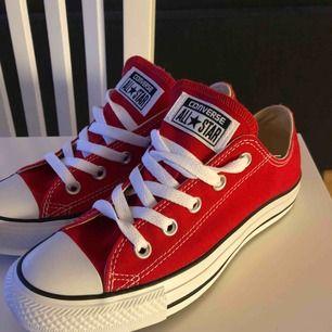Helt nya aldrig använda klar röda Converse! Storlek 36,5.