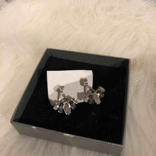 2 delars örhängen där pärlan sitter där örhängena brukar vara och andra delen under öronsnibben. Frakt är inräknat i priset☺️