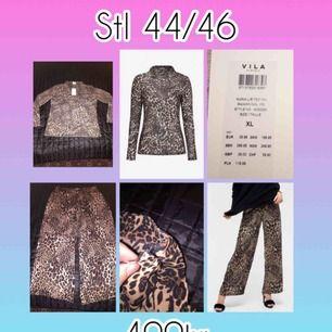 Nya leopard utsvängda byxor med en leopard polo tröja till. 🎀 Stl på byxorna är XXL/46 & toppen         XL/44🌸 Båda två för 400kr & mitt pris som gäller📌  Finns i Norrköping & kan fraktas, köpare står för kostnaden.