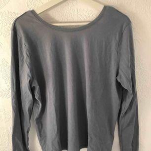 Smutsblå långärmad tröja med djup rygg, aldrig använd.