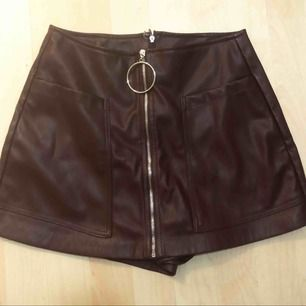 Maroon leather skirt/shorts