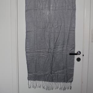 Silvrig scarf med glitter från LBVYR. Aldrig använd. Scarfen är väldigt tunn med fransar vid båda ändarna. Upphämtning i Borås och i annat fall tillkommer fraktkostnad. Betalning sker via swish innan plagget levereras/hämtas upp.