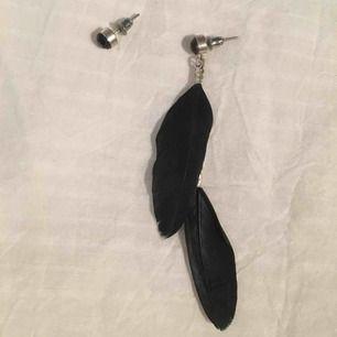 Ett par örhängen där båda örhängena består av en liten svart sten, men från ena örhänget hänger det ned två fjädrar. (Ej äkta silver).  Jag kan mötas i Uppsala/Täby. Betalning sker via swish/kontant. Kan även posta, men då står köparen för frakten.