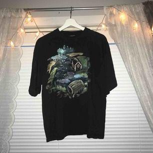 svart t-shirt med målning på. i mycket gott skick, storlek L men inte superstor på mig som är en storlek S, skulle säga att den är mellan M och L, priset är inkl. frakt! :)