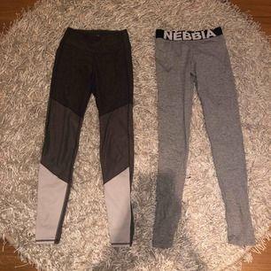 Nebbia ljusgråa tränings tights Köpta för 600kr Säljes för 400kr Helt oanvända   Hm tränings tights, gråa, vita  Köpta för 200kr  Säljes för 80kr Sparsamt använda