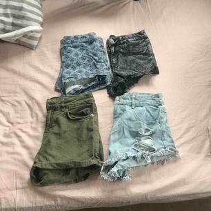 Fyra par shorts som jag säljer pga för små för mig, svarta och blå mönstrade i strl 34, gröna i strl 36 och blåa slitna i strl S, 40kr/st köpare står för frakt