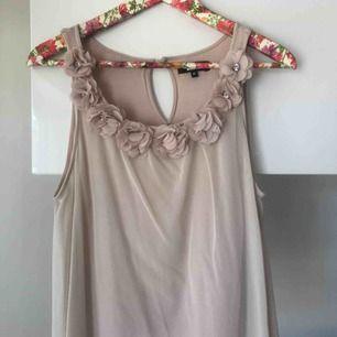 Jätte fint linne i tunt rosa löst tyg och ett linne innanför så man ej ser igenom. Fina detaljer vid axelbandet och urringningen. Lös i passformen så den passar både s och m. Använd fåtal gånger!