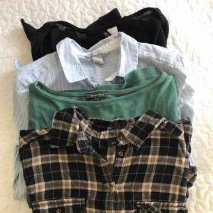 Kofta, 2 skjortor, en tröja med 2/3 ärmar med ljusare sömmar. Allt för 100