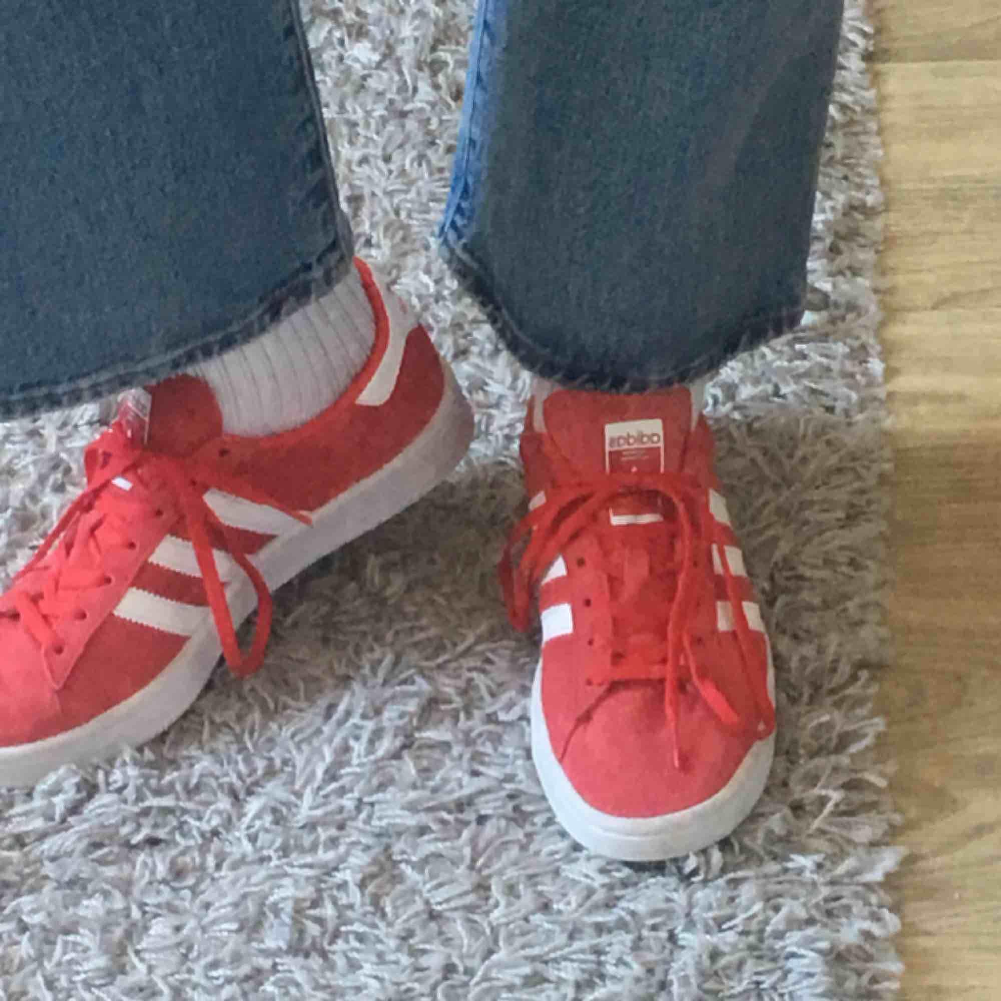 Säljer mina röda adidas campus skor! Storlek 40 och är i fint skick✨✨ Köptes för 899kr men säljs för 350kr + frakt . Skor.