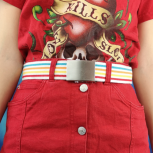 Skitsnyggt randigt bälte med spänne i  superfint skick, mäter 112 cm med spännet inräknat. Frakten för denna ligger på 36 kr, samfraktar gärna! 😌👍 (mer fraktkostnad kan tillkomma vid köp av flertalet varor)