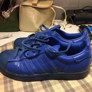 Adidas superstar i Pharrel Williams kollektion. Riktigt använda. Pris kan diskuteras. Frakt 50 kr . Storlek 37 men passar även 38