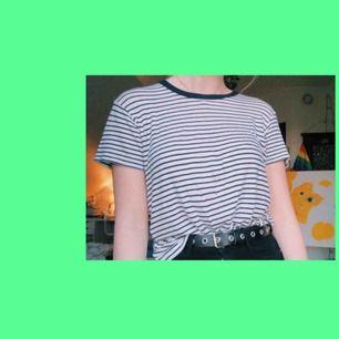 Blå/vit-randig tshirt från Brandy Melville. Har ett litet hål på framsidan (se andra bilden) Stretchingt mjukt material som passar XS-M Frakt: 25kr