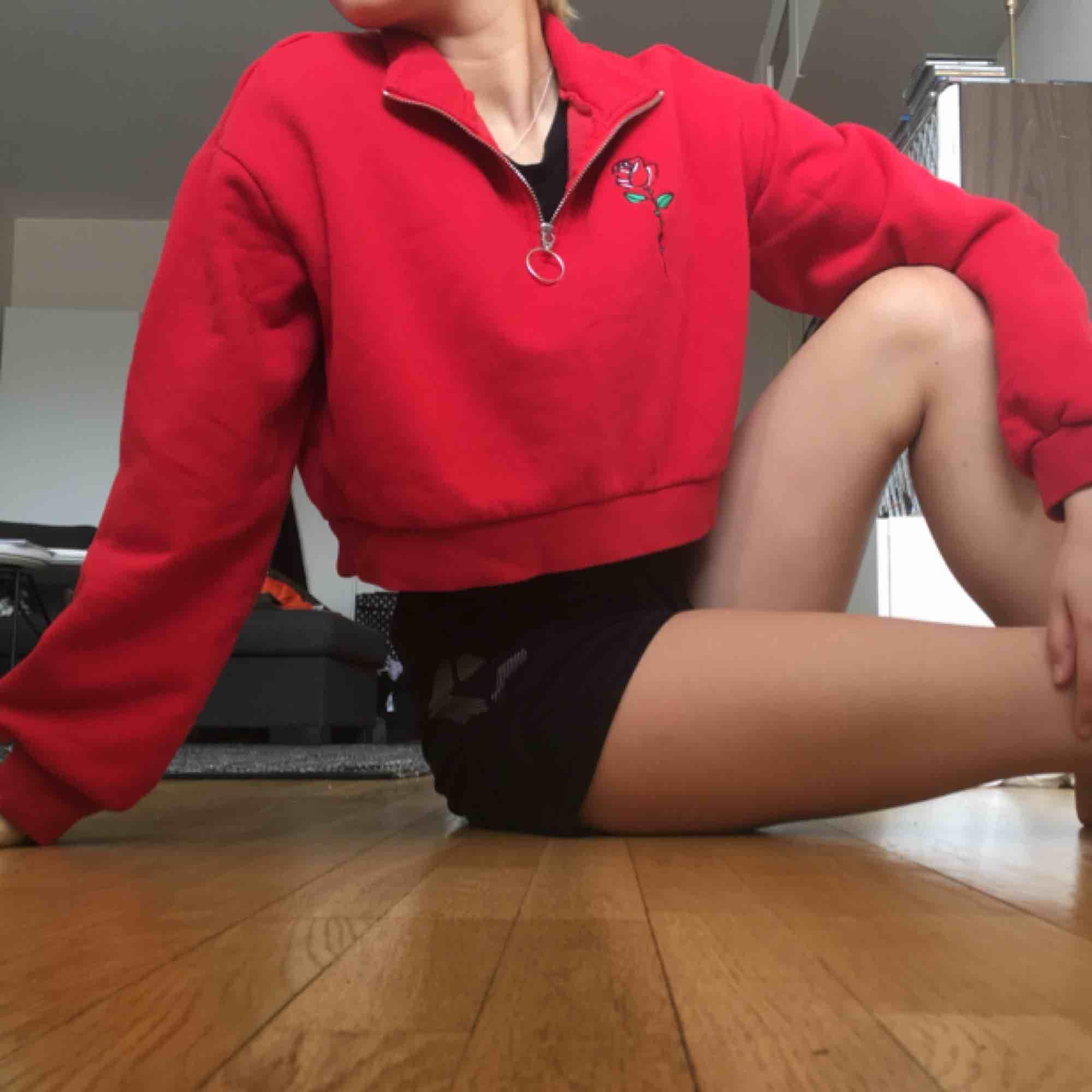 🌹Sjukt fin croppad långärmad tröja med rosbroderi från Hm🌹 Vill inte släppa den men använder den för lite💔Jag har egentligen XS eller S men köpte M för jag ville ha den lite oversized. Möts upp i Sthlm eller så tillkommer frakt🌹. Huvtröjor & Träningströjor.