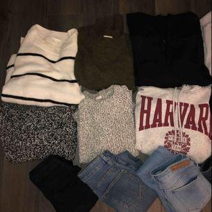 Säljer ett stort klädpaket i storlekarna XS-S Tröjor, jeans, shorts, stickat, t-shirts, kofta, kavaj, hoodies och kjolar. Nästan allt är i nyskick!