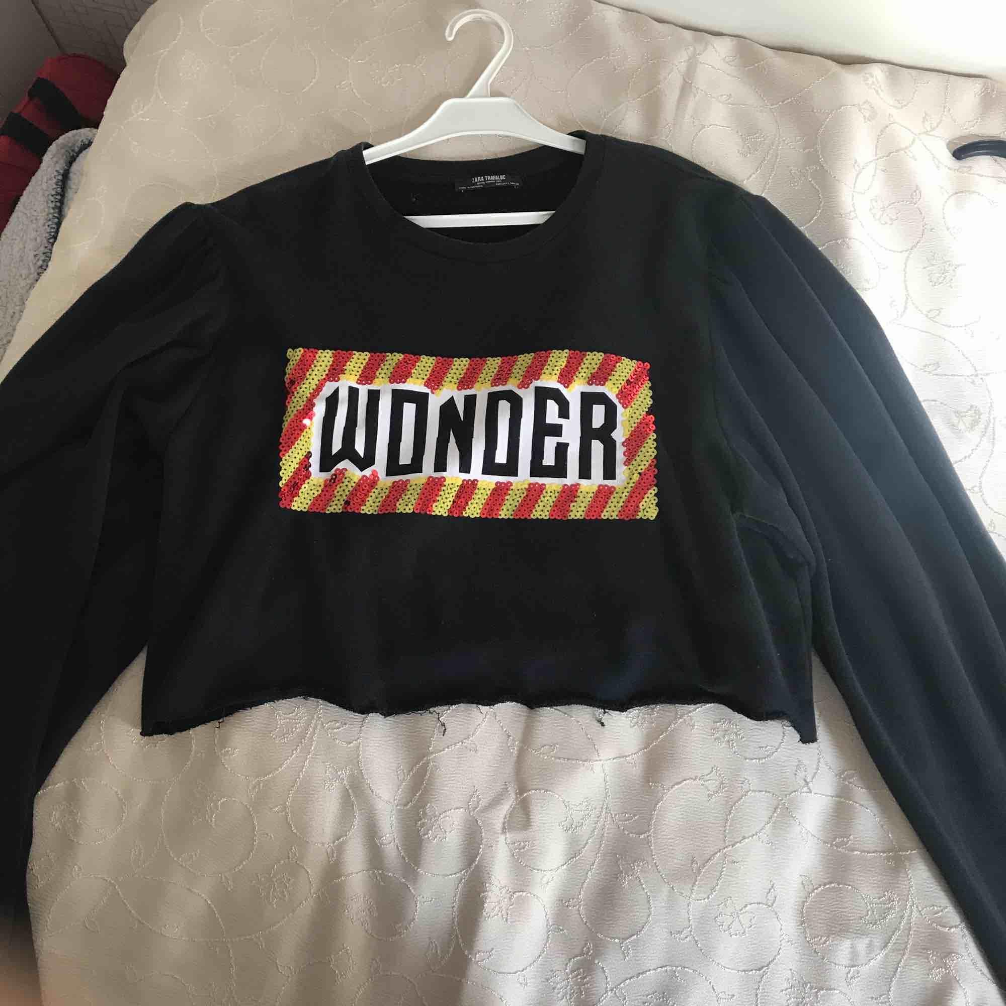 Cropped tröja från Zara, den är i storlek L men passar även mig som är en S. PRISET KAN DISKUTERAS JAG ÄR ÖPPEN FÖR ALLA FÖRSLAG. Tröjor & Koftor.