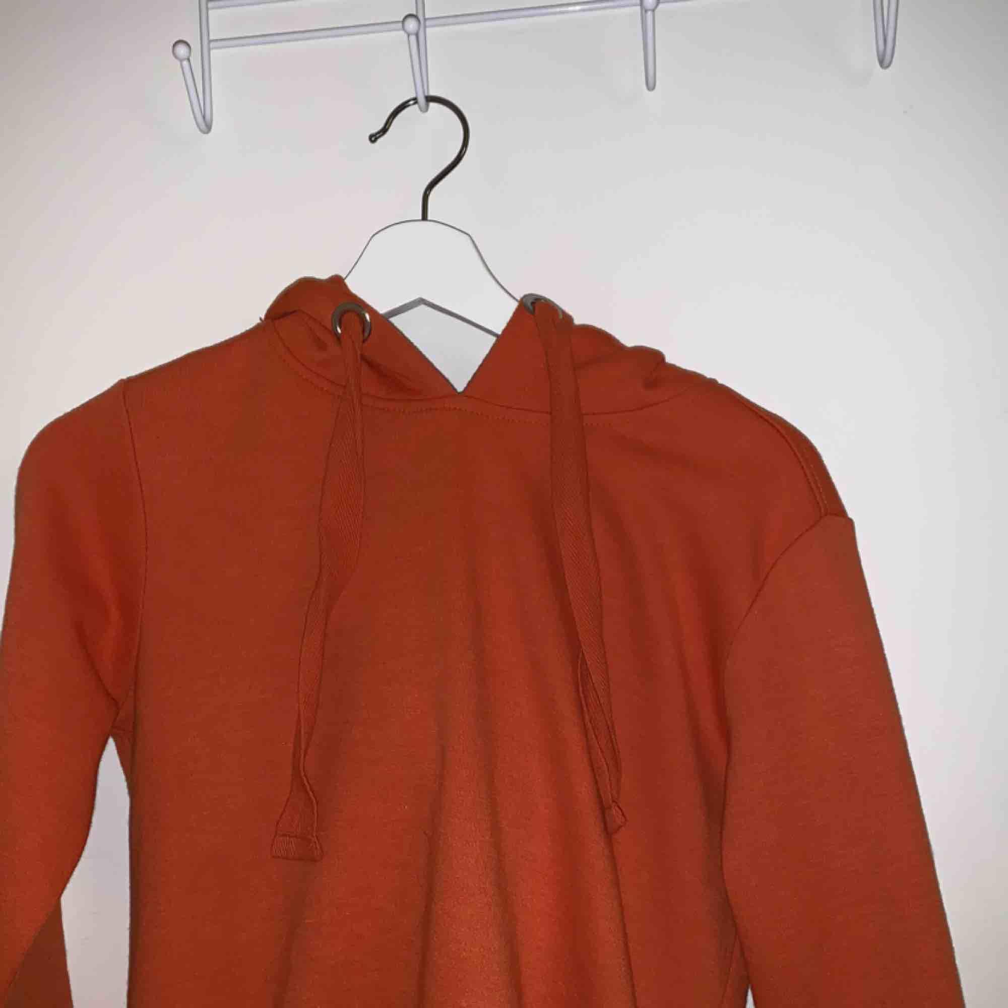 Orange kroppad hoodie, ej som en magtröja utan sträcker sig ungefär till exakt byxlinjen. Knappt använd. Skulle säga att storleken är som S/XS.. Huvtröjor & Träningströjor.