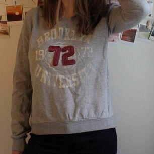 Grå sweatshirt med text, väldigt mysig tröja. Måttligt använd men inget slitage. Jag är 164cm och den passar bra på mig, något loose fit.