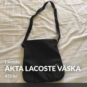 Åkta Lacoste väska svart skinn