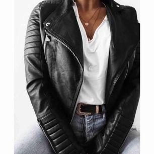 """Svart skinnjacka från Chiquelle """"Moto Jacket"""" i storlek S"""